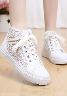 White Round Toe Flat Grenadine Patchwork Zipper Casual Shoes