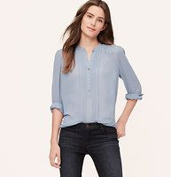 Petite Sheer Pintucked Blouse - Pintucks enhance this just-sheer-enough beauty. Add a cami beneath for more coverage. Mandarin collar. Long sleeves. Button henley placket. Shirred at front and back yoke, shoulders and button cuffs. Shirttail hem.