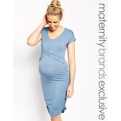 Mamalicious Knot Ruch T-shirt Dress (€22) ❤ liked on Polyvore featuring maternity and riviera