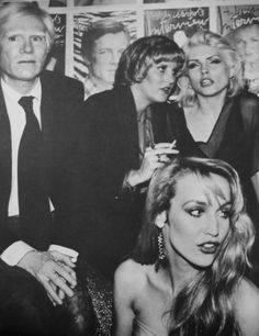 Andy Warhol, Jerry Hall and Debbie Harry at Studio 54