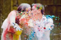 Colorful Engagement Session From Phatfoto  Colored Powder engagement shoot