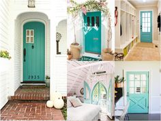 1-2-3-4-5 Style At Home, Beachy Colors, Cottage Farmhouse, Bungalow, Beautiful Homes, Entrance, Sweet Home, Gallery Wall, Exterior