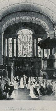 The interior of St. George's Church in London as it looked when Lady Augusta and Prince Augustus were married there. St George's, Church Interior, Regency Era, Saint George, Altar, Canopy, 19th Century, Saints, Fiction