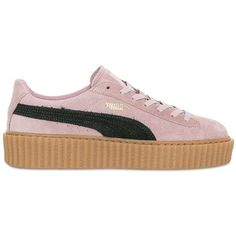 PUMA SELECT Rihanna Suede Creeper Sneakers ($150) ❤ liked on Polyvore featuring shoes, sneakers, suede shoes, puma trainers, puma shoes, suede leather shoes and puma footwear