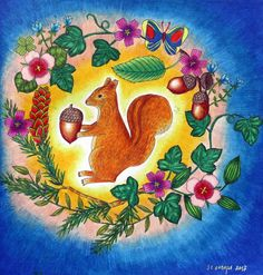 """My coloring of """"Four Seasons"""" book by Aiko Fukawa Aiko, Coloring Books, Rooster, Painting, Animals, Seasons, Vintage Coloring Books, Animales, Animaux"""