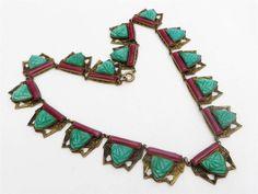 Antique Deco Czech Max Neiger Egyptian Revival Jade & Glass Necklace