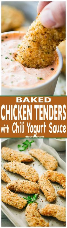Baked Chicken Tenders with Chili Yogurt Sauce - Juicy, crispy, delicious chicken tenders coated with a flavorful parmesan panko mixture and served with a zingy chili yogurt sauce.