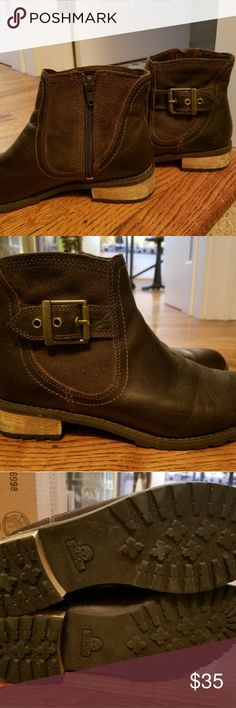 Timberland Brown Leather Booties Timberland Brown Leather Booties, Zippered Side Closure, Wooden Heels, Rubber Lug Soles, Still A Ton Of Life Left In Them. Timberland Shoes Ankle Boots & Booties