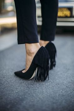Black fringe heels. So chic. Latest arrivals.
