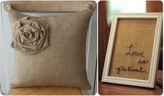 burlap pillow - love the flower