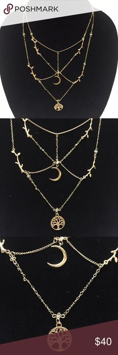 Timiny Necklace Timiny's meaning is connected to universal wisdom & integrity. In life we have paths to take to achieve goals in order to be our best. No matter where the path takes us, remember the most important pathway always leads to love. Follow your heart, live in love and your path will lead to happiness. This necklace has many pathways laying over your heart to remind us that all paths circle back to love, which is everything. Use the moon as your guide & tree of life to remember…