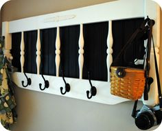 Old headboard into new hanging rack.  Love this!