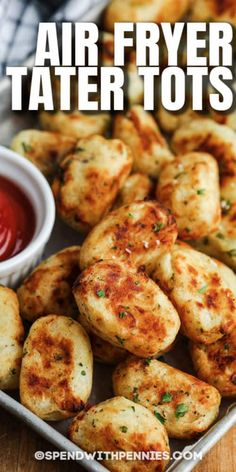 Serve up dinner or lunch the kids will love with chicken nuggets and air fryer tater tots made from scratch. Or bake these homemade tater tots into a delicious casserole or breakfast bake. #spendwithpennies #airfryertatertots #tatertots #sidedish #appetizer #recipe #homemade #easy #best #fromscratch #crispy Potato Side Dishes, Side Dishes Easy, Side Dish Recipes, Homemade Tater Tots, Homemade Chicken Nuggets, Make Bbq Sauce, How To Cook Potatoes, Breakfast Bake, Sweet Potato Recipes