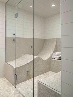 S shaped shower seat so you can lay down. I'd have to have a tankless water heater too though.