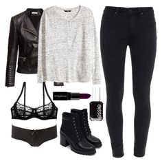 """""""Damon Salvatore Inspired Outfit"""" by staystronng ❤ liked on Polyvore featuring H&M, Paige Denim, Zara, Charlotte Russe, Essie, Smashbox, women's clothing, women's fashion, women and female"""