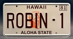 Magnum PI / Ferarri 308 GTS / Tom Selleck / ROBIN-1 *METAL STAMPED* Vanity Prop License Plate Celebrity Machines
