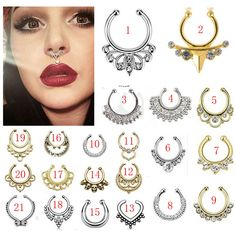21 Mix Style Titanium Fake Nose Ring Piercings Gold Silver Plated Multi Shape Septum Piercing Clickers Body Jewelry For Women - Fake Piercing, Septum Piercing Jewelry, Body Piercing, Fake Nose Rings, Funky Earrings, Body Jewelry, Jewelry Shop, Fine Jewelry, Cheap Jewelry