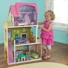Dollhouse Barbie Size w/ Furniture Wooden Girls Doll Playhouse Play House Gift #DollhouseBarbieSize