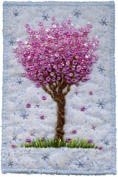 "https://flic.kr/p/93pwo7 | Blossom Tree on Blue, 2 | Finding more ways to embroider trees.  3"" x 4 ½"", 7 ¾"" x 10"" pine frame SOLD www.chursinoff.com/kirsten/"
