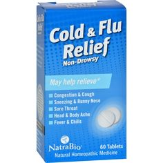 NatraBio Cold and Flu Relief Non-Drowsy - 60 Tablets - NatraBio Cold and Flu Relief Non-Drowsy Description: Providing natural relief for the symptoms of: Congestion and Cough Sneezing and Runny Nose Sore Throat Head and Body Ache Fever and Chills NatraBio is proud to bring you the next era in symptom relief. Scientifically developed to deliver fast, effective relief in a quick and convenient liquid, NatraBio products are strong enough for the toughest symptoms yet gentle enough for children…