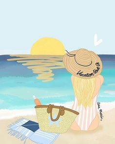 Beach Art - Fushion News Summer Wallpaper, Pastel Wallpaper, Wallpaper Backgrounds, Iphone Wallpaper, Beach Art, Cute Wallpapers, Fine Art Paper, Art Girl, Watercolor Art