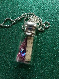 Rose Dreams Soldered Glass Bottle Necklace by EnchantedObjects, $30.00