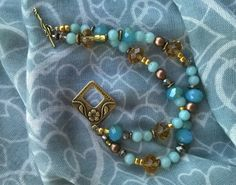 Seaside bracelet brass, amazonite, Swarovski, Czech beads