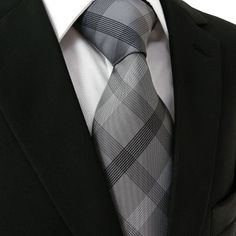 Checked Black Dark Gray Men's PLAID NECKTIE 100% Silk Jacquard Woven