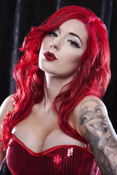 red hair #alternative #model #makeup #tattoo