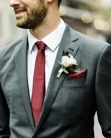 groom wearing custom charcoal suit with a burgundy tie and pocket square Charcoal Suit Wedding, White Wedding Suit, Burgundy Wedding, Wedding Suits, Pocket Square Guide, Pocket Square Styles, Tie And Pocket Square, Pocket Squares