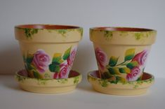 SET of 2 Roses and Leaves Hand Painted clay flower by MountBlossom