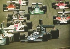 Zandvoort 1974, at Tarzan: Hunt(24), Pryce(16), Edwards(behind Hunt), Mass(19), Ickx(JPS Lotus), Beltoise(14), Merzario(behind Mass) & Schuppan with Hill behind. Of all these only Ickx would make the finish.