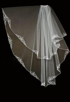 Bridal Veil - Sloane Wedding Veil with Embroidery - Embroidered Veil-Veil with Two Layers-Lace Veil-Cascade Veil
