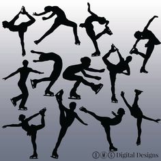 12 Figure Skating Silhouette Clipart Images by OMGDIGITALDESIGNS