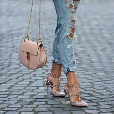 <3 pink #valentino studded shoes