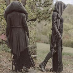 Post-apocalyptic fashion, long hooded duster jacket