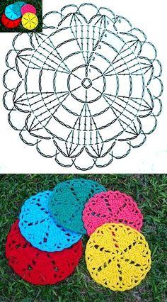 Crochet Heart Coaster Ideas 25 Ideas For 2019 Crochet Potholders, Crochet Motifs, Crochet Squares, Thread Crochet, Crochet Doilies, Crochet Flowers, Crochet Patterns, Crochet Circles, Crochet Round