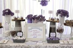 white & purple party table