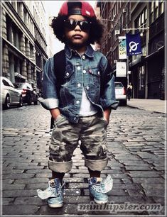 The Coolest Kid in Soho - Cargo pants: Gap Kids // Denim jacket: Levi's // Sneakers: Adidas+Jeremy Scott //Backpack: Jordan // Hat: Marvel Comics