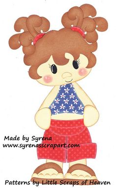 Little Girl in Red White and Blue Premade by SyrenasScrapArt, $6.49