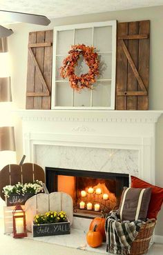 Rustic Fall Mantel with DIY Wood Pumpkins & DIY Barn Wood Shutters   Timeless Rustic Decor For Fall