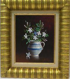 Cerámica y Jazmines Técnica: Oleo sobre tabla Medidas (cm): 38x33 Medidas lienzo(cm): 25x20 Marco interior: Sí  Pequeño bodegón de flores pintado al oleo sobre tabla. Una obra de pequeño tamaño, muy decorativa y perfectamente enmarcada a un precio que prácticamente el marco lo vale. $144.63
