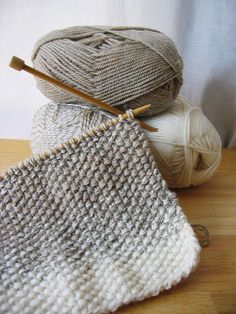 Three yarns total, working two strands at a time to create a subtle color-shifting design. Using a basic seed stitch and Pattons Classic Wool Merino in Natural Mix, Winter White and Natural Marl.