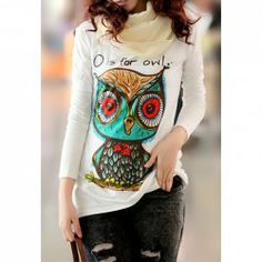 Cute Owl Pattern Long Sleeved White T-Shirt For Women (WHITE,ONE SIZE) China Wholesale - Sammydress.com