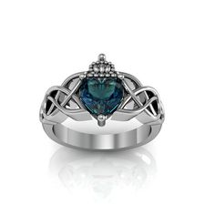 Claddagh Ring Sterling Silver Alexandrite by Majesticjewelry99