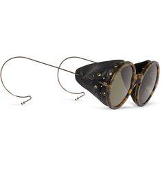 OBLIVION MORGAN FREEMAN GLASSES Thom BrowneRound-Frame Leather-Trimmed…