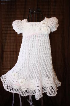 "The Ella - Crochet Blessing / Christening Dress - Size 6-9 months and 12 months - 20"" length (ankle length)"