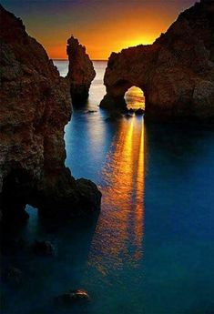 Beautiful sunset on the seacoast, near the town Carvoeiro, in Algarve province in Portugal - Csodálatos naplemente a tengerparton Carvoeiro város közelében, Algarve tartományban, Portugáliában Places Around The World, The Places Youll Go, Places To See, Around The Worlds, Beautiful Sunset, Beautiful World, Beautiful Beautiful, Absolutely Gorgeous, Wonderful Places