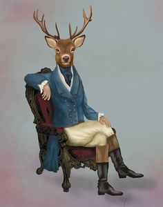 A very distinguished looking deer. A 14x11inch print from an original artwork by LoopyLolly / FabFunky.