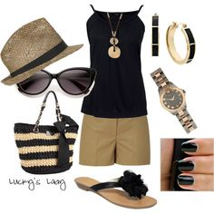 The shorts don't look very flattering. But I love all of the accessories! black & gold, created by luckyslady